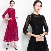 2018 spring summer fashion women lace hollow out ling dress solid stand collar three quarter A Line high waist vintage vestidos