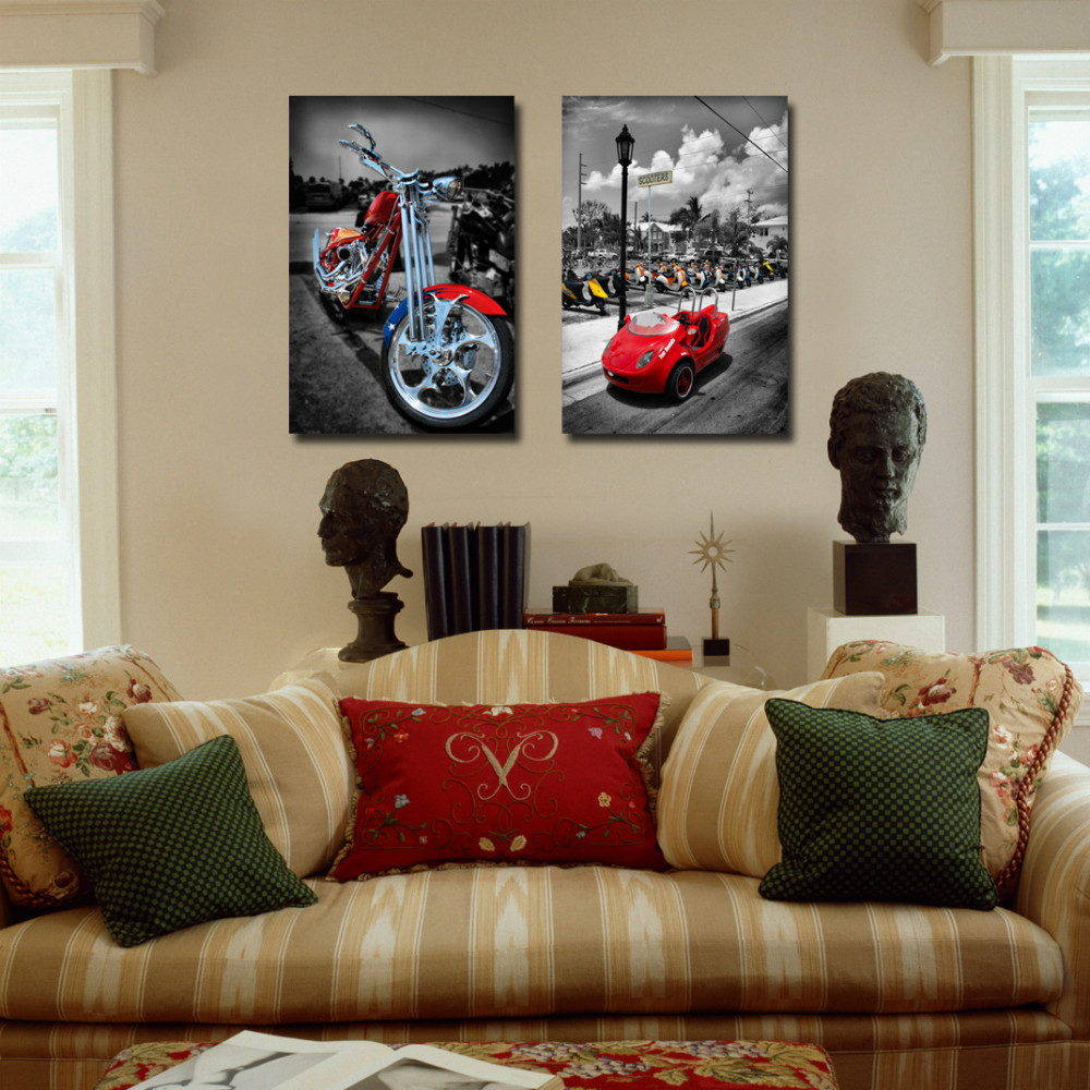 2 pieces wall pictures cool motorcycles and cars prints painting large canvas art cheap painting for bar decoration in painting calligraphy from home