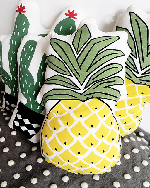 Kids Pineapple Pillow Linen Educational Plants Fruits Cushion Ananas Cotton Baby Room Decor Child Stuffed Soft Gifts 1pcs