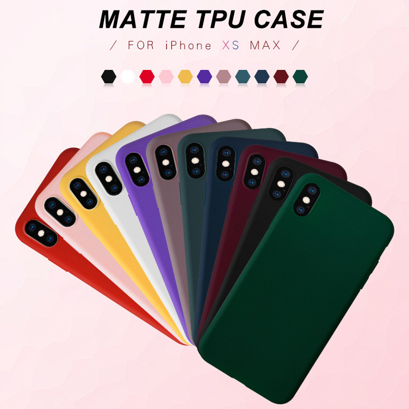 Matte Phone Case for iPhone 7 8 Plus 6 6s X XS 5 5s SE Soft TPU Candy Color Simple Solid Color Back Cover for iPhone XS Max XR