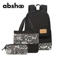 Abshoo Женщины Холст Рюкзаки для подростков студент колледжа ноутбук школьные сумки для путешествий рюкзак для женщин 3 шт. Рюкзак Кошелек