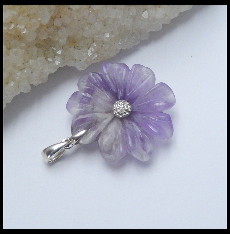 Silver Pendant Amethyst Carved Flower Pendant 32x29x7mm 7.15g Natural Stone Fashion Gift Fine Jewerly