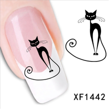 Hot Style 2 sheets Watermark Black Cute Cat Design Nail Decals DIY Nail Sticker Decoration Tools