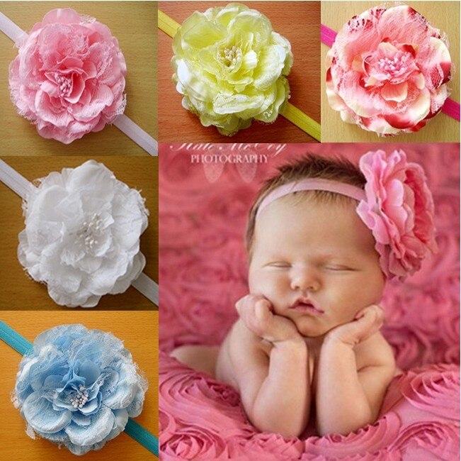 Infant Kids Baby Girl Cute Toddler Big Peony Flower Crown Princess Supreme Headband Bebe Headbands Girls Hair Band Accessories