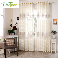 Tree Embroidered Curtains Tulle For Living Room Bedroom Translucidus Modern Window Curtains Sheer Voile
