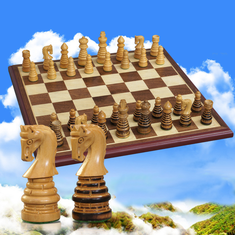 BSTFAMLY wood chess set game, portable game of international chess, High-grade wood chessboard boxwood chess pieces wood, LA19 five in one uniting chess wood multifunction checkers backgammon exercise children thinking family board game kids birthday gift