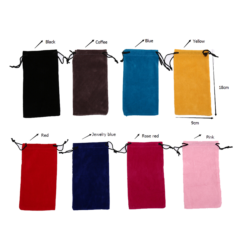 5pcs/lot Drawstring Sunglasses Bags Solid Color Bags Myopia Customized Glass Case Eyewear Accessories Soft Eyeglasses Bag 18*9cm