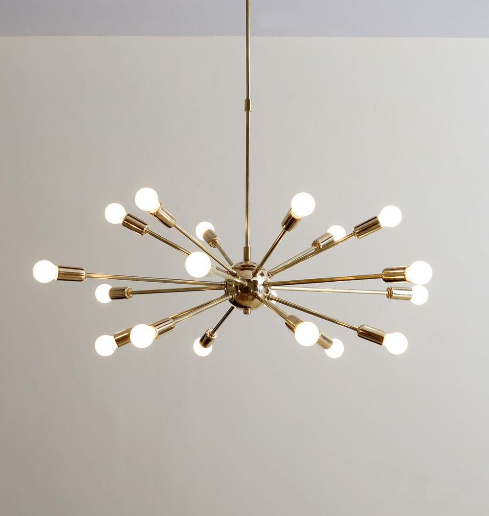 Us 130 26 22 Off Mid Century Brass Sputnik Chandelier 18 Arms Modern Pendant Lamp Hanging Light For Living Room Home Decor Dinning Room Free In
