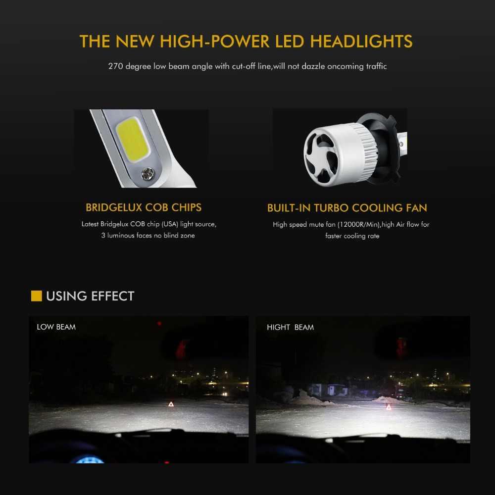 Oslamp H4 H7 H11 9005 9006 H1 COB Car LED Headlight Bulbs Hi-Lo Beam 72W 8000LM 6500K/4300K Auto Led Headlamp Car Light 12v 24v