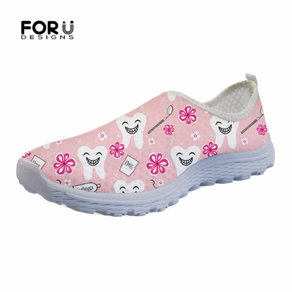 FORUDESIGNS Casual Nurse Shoes Flats Summer Women' 3D Cute Dentist Prints Sneakers Women Mesh Loafers Slip-on Shoes For Girls