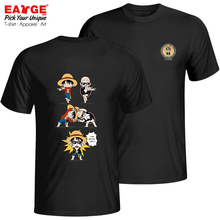 I Am Master Luffy T Shirt One Piece Crossover Dragon Ball Creative Punk Style T-shirt Anime Unisex Double Sided Cotton Black Tee