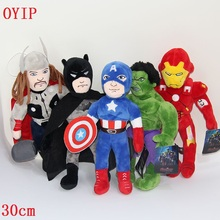 30cm Super Hero The Avengers plush set Toys Spiderman Captain America Hulk Batman iron Man Raytheon