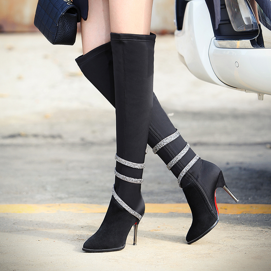 Fashion Glitter Over the Knee women boots High Thin Heels sexy party Kinght boots women shoes