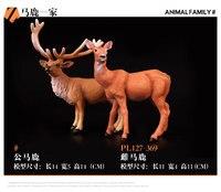 2 sztuk Samiec i Samica Czerwona Deers Modele Dla Dzieci Tanie Zabawki Prezenty
