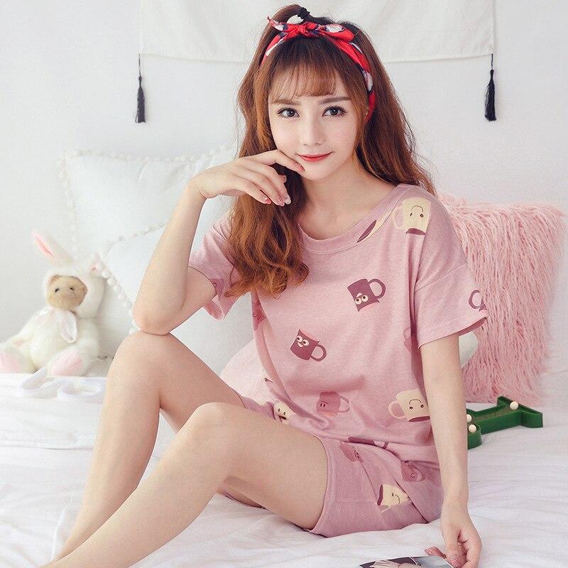 Women Pajama Sets Thin Women's Cotton Pajamas Short Sleeve Sleepwear Women Round Neck Bow Pajamas Suit Summer Casual Homewear