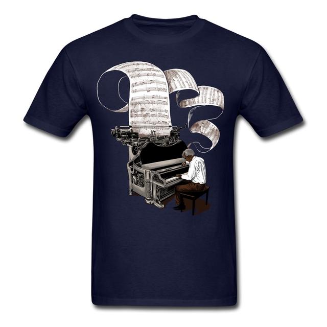 Diseño Pianista Compositor de Música Nota de Piano T Camisa de Los Hombres Masculinos Corto Manga Grupo de Día de Acción de gracias de Encargo 3XL Tee Shirts