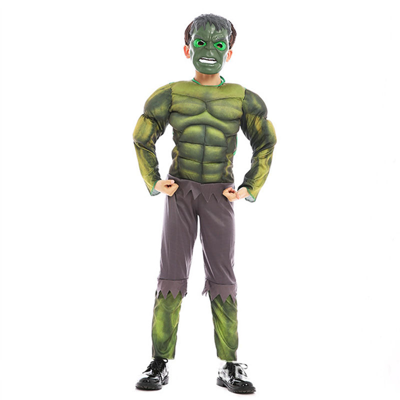 Boys Hulk Cosplay Costume Superhero Cosplay Children Mask Hulk Muscle Suit Kids Halloween Christmas Costume Kids NewYear Clothes