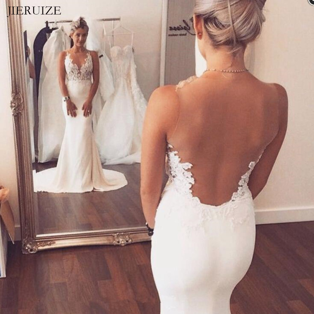 E JUE SHUNG White Satin Mermaid Wedding Dresses 2019 Lace Appliques Sheer Back Summer Dresses Beach Wedding Gowns Mariage