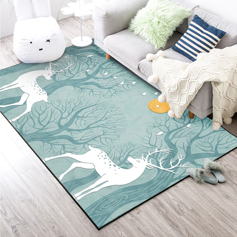 Nordic Deer Tree Carpets and Rugs For Living Room Bedroom Sofa Chair Area Rugs Kids Room Decor Play Tent Soft Floor Mats Tapete