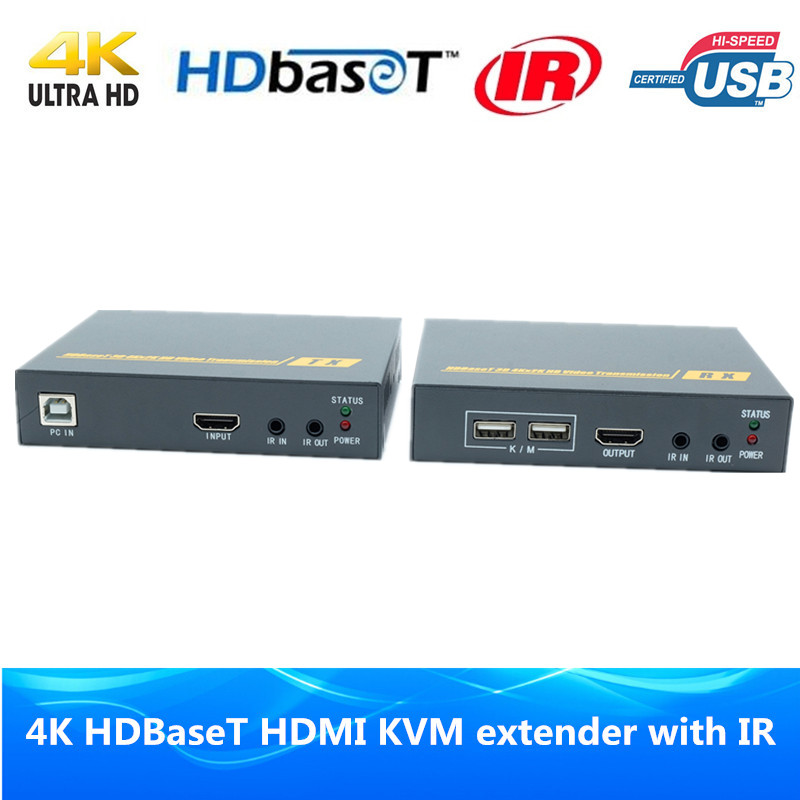Super Quality 230ft 4K HDBaseT HDMI KVM extender 3D IR RS232 USB Keyboard Mouse HDMI POE
