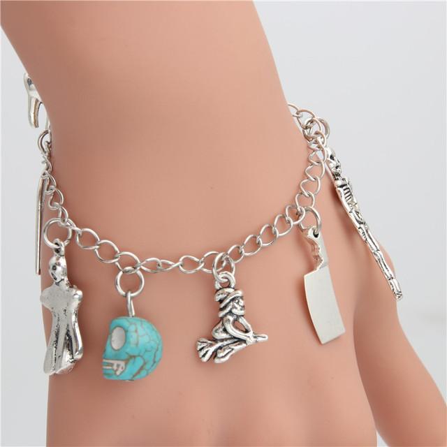 1pc Witch Hat Skull Moon Cross Pumpkin Pagan Charms Wicca Pendant Chain Link Bracelet Halloween Jeawelry Gift For Women Men