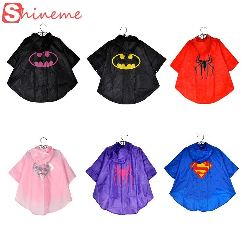 Дождевик для мальчиков и девочек сэмблемами супергероев Супермен Бэтмен Человек-паук дождевик в школу для езды на велосипеде плащ из водо...