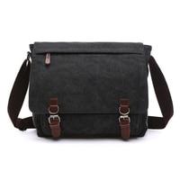 NEW ARRIVAL Canvas Leather Crossbody Bag Men Military Army Vintage Messenger Bags Postman Large Shoulder Bag