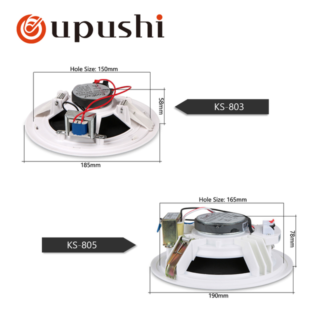 In ceiling speakers 6.5 inch home surround sound speakers 10w in wall mount roof speaker white round built in wall speakers pa
