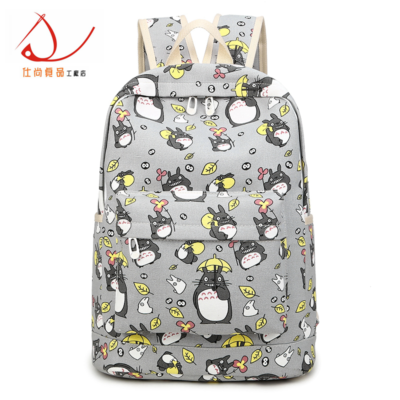 Small fresh print canvas shoulder bag male and female student bag cartoon cartoon dragon cat backpack