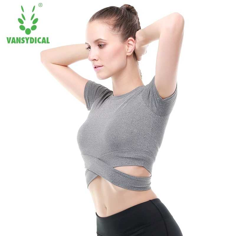 Vansydical Womens Sexy Yoga Shirts Crop Tops Gym Running Tops Fitness Workout Sports Shirts Yoga Jogging Gym Tank Top Slimming