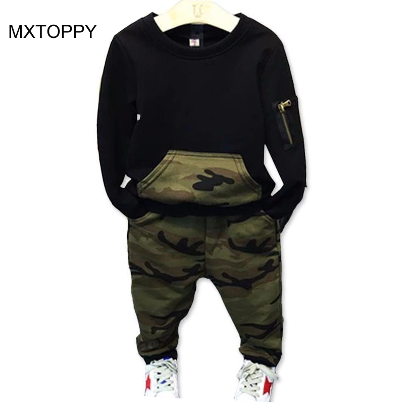 Casual Camouflage Boys Clothes 2017 New Spring Autumn Toddler Chidren Clothing Set Black Shirts Pants Kids Sports Suit for Boys