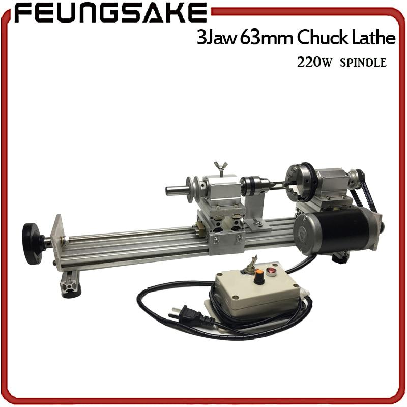 3 коготь 63 мм Chuck 220 Вт шпинделя мини станок бусинами полировальная машина, деревянный круг 3 челюсти настроить длина зажим, поделки из дерева ...