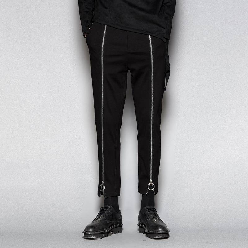 longueur À Cheville 6xlOriginal Mode Pantalons Métal Tendance Fermeture Noir Pour Décontractés Anneau En S Hommes Éclair 5qARL34j
