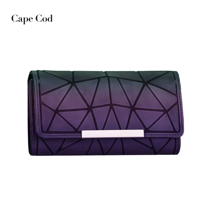 4a8dfe1cc898 US $8.54  Women long clutch Luminous wallet Geometric Diamond lattice Three  Folds wallets designer Noctilucent Large Capacity purse Hot PJ-in Wallets  ...