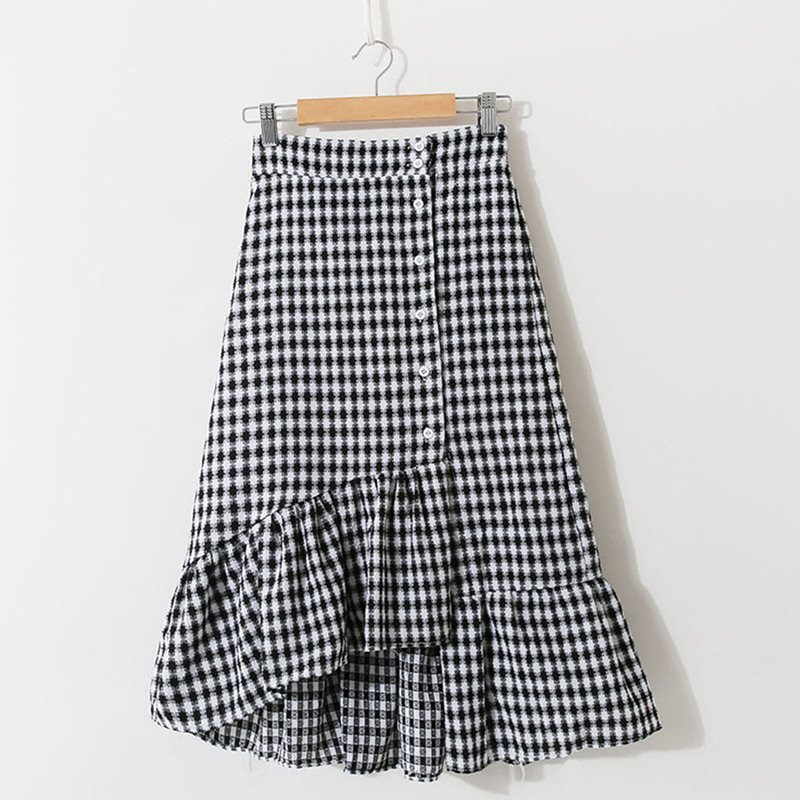 Retro Sweet Summer Skirts Elegant Casual Preppy Office Lady Beach Korean Style Plaid Ruffles Button Female Fashion Vintage Skirt