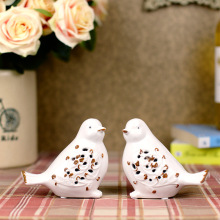 1 Pair Home Decoration Simple Style Bird Figurine Ornaments Lovely Crafts Ceramic Wedding Birthday Gift