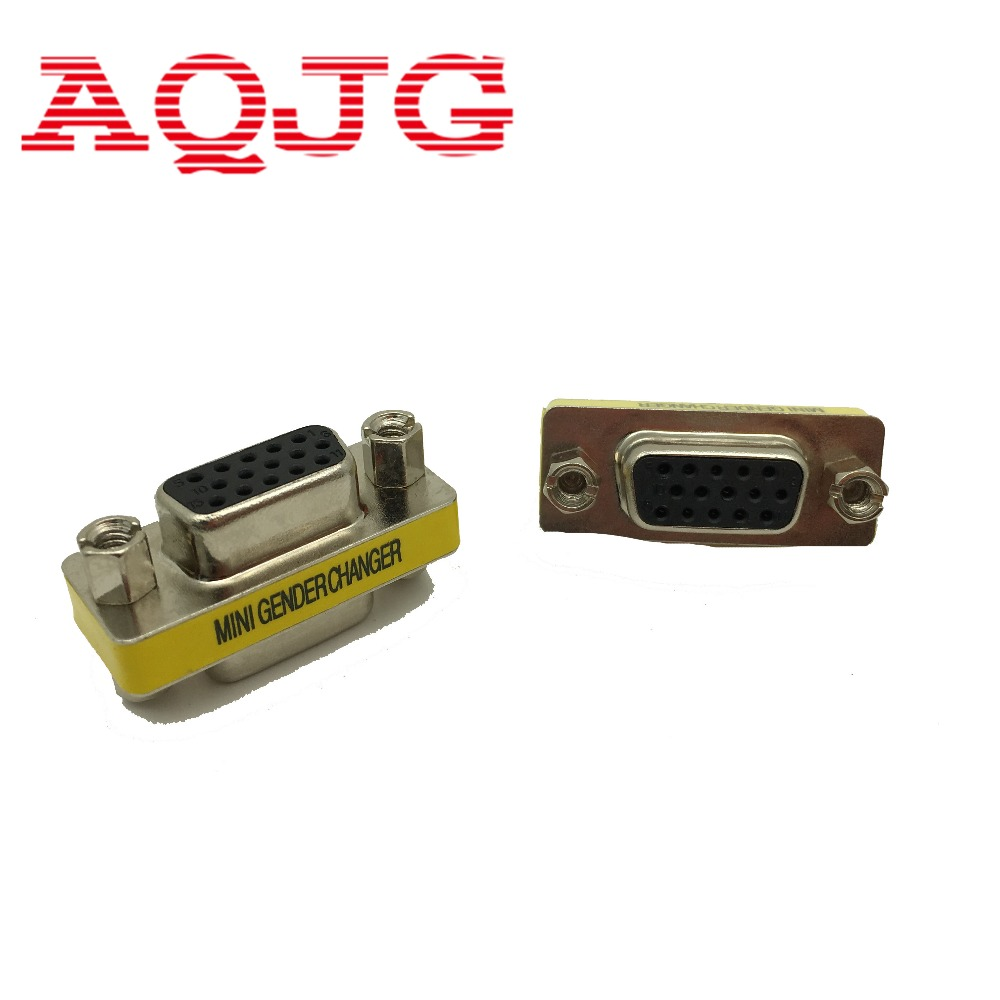 New Female To Female VGA HD15 Pin Gender Changer Convertor Adapter AQJG Wholesale VGA Female Hight Quanlity