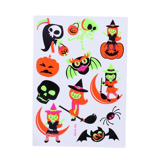 Us 204 Halloween Luminous Tatuaż Halloween Makijaż Dla Dzieci Fluorescencyjne Dynia Duch I Bat Art Tatuaże Kreatywny Naklejki W Halloween Luminous