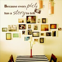 Because Every Picture Has A Story To Tell Vinyl Wall Quote Decal Family Photo Wall Decor