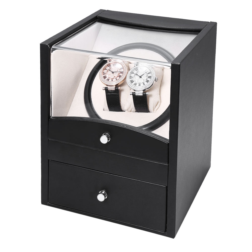 Black Auto Rotation Watch Winder Two Grids Transparent Cover Cuboid Shape Wristwatch Box with Drawer