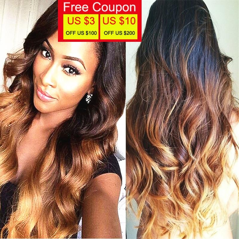 Ombre Brazilian Hair Body Wave Honey Blonde Brazilian Hair Weave