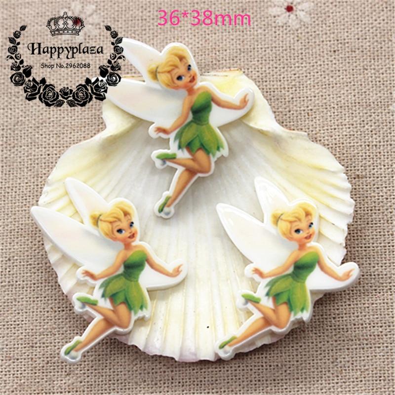 10pcs Little Fairy Tinkerbell Resin Planar Flat Back Resin Craft DIY Hair Bow Center Accessories,36*38mm