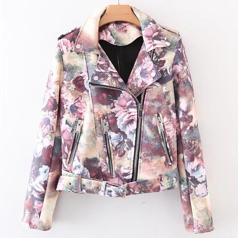 2018 New Arrivals Women Automotive   Leather   Jackets Fashion Sweet Girls Women Flower Printed Short   Leather   Jacket Overcoat C1722