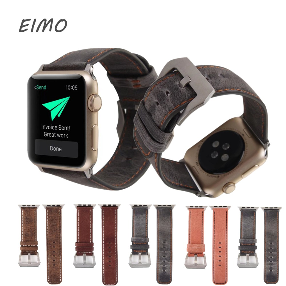 EIMO Genuine Leather strap for Apple Watch band 42 mm 38 mm Retro style Wrist Watch bracelet for iwatch series 3/2/1 Accessories crested leather strap for apple watch band 42 mm 38 mm watch accessories strap band wrist watch bracelet for iwatch series 3 2 1