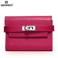 New Stylish Famous Brand Cow Leather Wallet Women Genuine Leather Wallets 3Folds Female Clutch Bag Card Holder Women's Purse