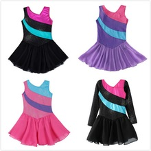 Littele Girls Ballet Tutu Dress / Skirt senza maniche arcobaleno Stripe Tulle Skirt Shiny Sparkle Dance Wear Ginnastica Body Vestiti