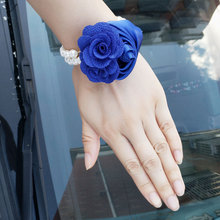Flower Bracelet For Bridesmaids Wedding Corsage Hand Corsages Bracelets Accessories Red Wrist Purple Prom Bridal