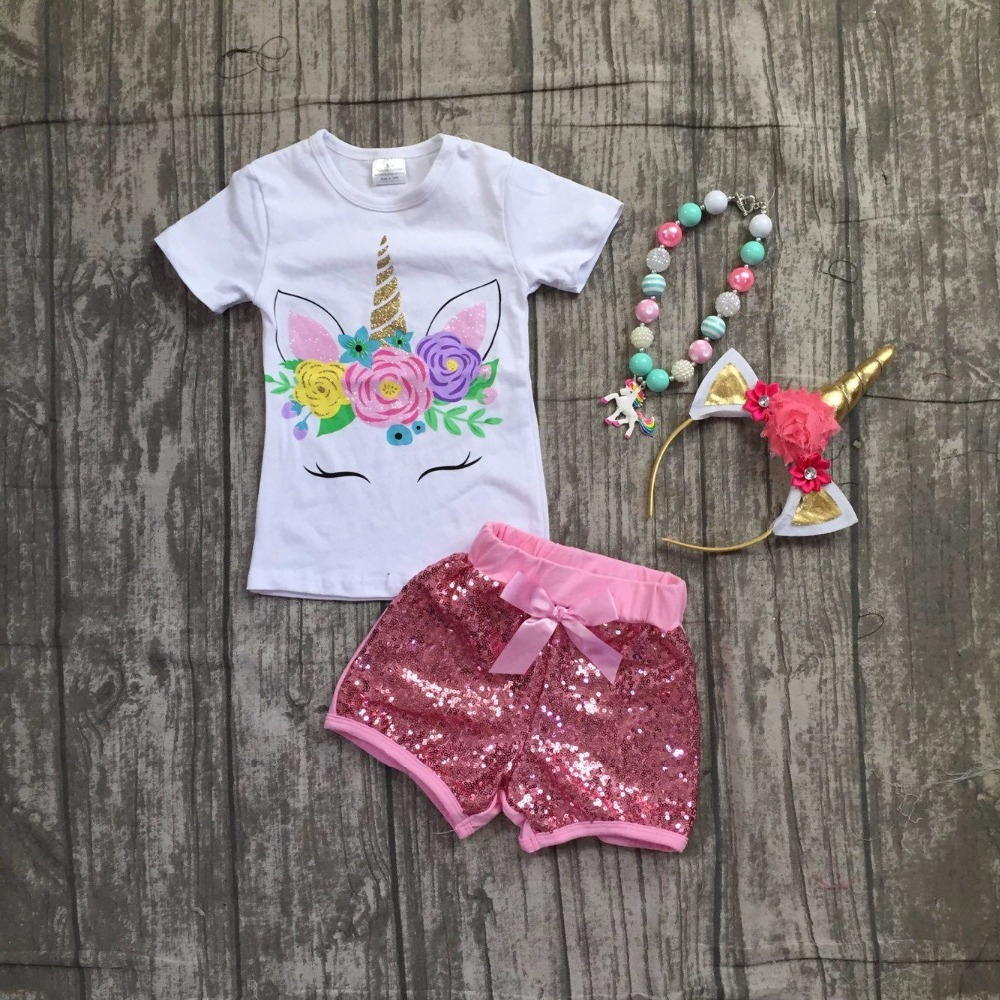 baby girls summer boutique clothing girls unicorn top with pink sequin shorts outfits girls unicorn clothes with accessories black white stripes flamingos short sleeves top solid pink ruffle short summer outfit girls boutique clothing with accessories