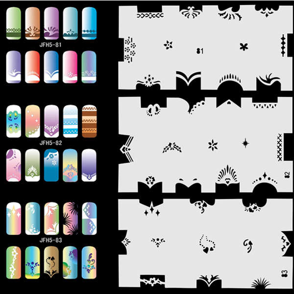 Airbrush Fingernail Nail Art Paint Stencil Kit Design Air Brush Patterns - Set No.5 - Animals, Peoples, Natures  цены