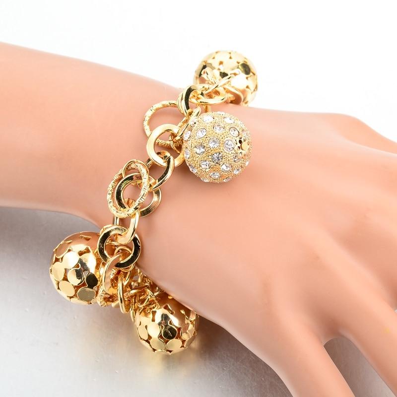 LongWay Strand Bracelet Silver Color Gold Color Bracelets with Hollow Ball Crystal For Women Bracelet Accessories SBR160023103 7